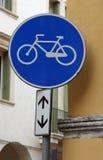 Bike trail sign with a bike designed. Blue bike trail sign with a bike designed Stock Image