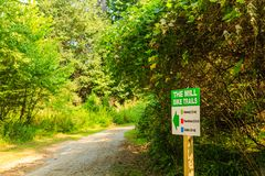Bike Trails Through Woods. Sign for Bike Trails Through Woods Royalty Free Stock Image