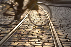Bike and Tram Tracks Royalty Free Stock Photos