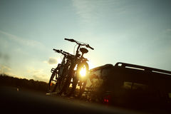 Free Bike Transportation - Two Bikes On The Back Of A Car Stock Photography - 58670412