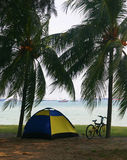 Bike traveling. With tent. Stay on the beach Stock Photo