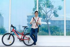 Bike traveller Stock Image
