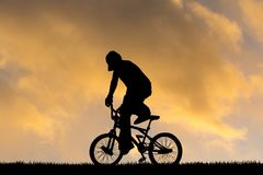Bike trial at sunset. Illustration of bike trial at sunset Royalty Free Stock Image
