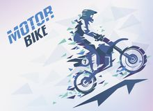 Bike with triangle splints, motocross stylized background vector illustration