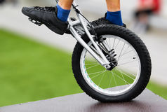 Bike Trick. Closeup photograph of a bike trick, balancing on one wheel Royalty Free Stock Image