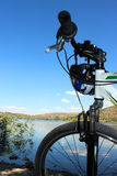 Bike trip. Around the lake royalty free stock photography