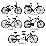Bike types vector black silhouettes. Road, mountain, tandem bicycles isolated Royalty Free Stock Images