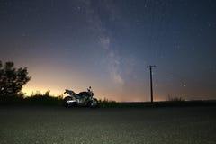 Bike under Milky Way. My bike under Milky Way galaxy Stock Photos