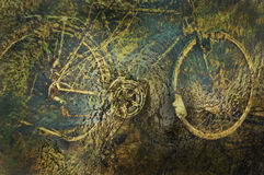 Bike under water. Photo manipulation. Bicycle under water in river. Good picture to decorate a wall in houses and apartments Royalty Free Stock Images