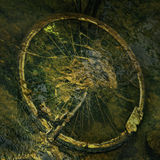 Bike under water. Photo manipulation. Bicycle wheel under water in river. Good picture to decorate a wall in houses and apartments Royalty Free Stock Photo