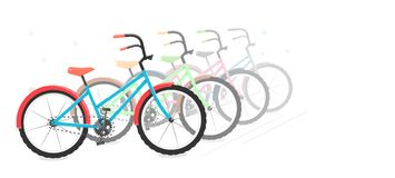Bike in a vector on a white background. Motion graphics and bicycle parking. White blank area for text. Stock Photography