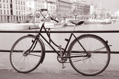 Bike on Water Front at Helsinki, Finland Stock Photos