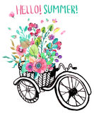 Bike and watercolor flowers. Tricycle Stock Photography