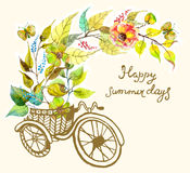 Bike and watercolor flowers, tricycle Stock Images