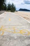 Bike way on the beach Royalty Free Stock Photography