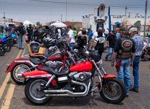 Bike Week Harleys. Bikers enjoy looking at the bikes during bike week stock photo