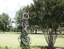 Bike Wheel Art Display at the West Tennessee Agricultural Research Center Stock Image