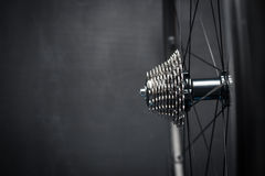 Bike wheel with chainring Stock Photos