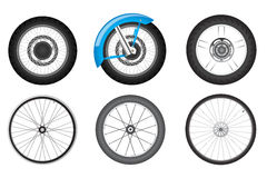 Bike wheel set. Realistic black motorcycle and bicycle wheel set Stock Images