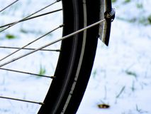 Bike detail in snow. stock photography
