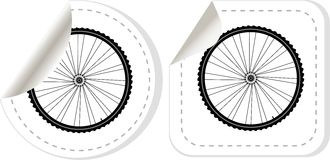Bike wheel with tire and spokes vector sticker set Royalty Free Stock Photo