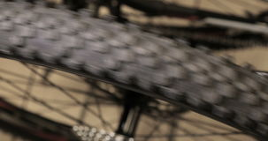 Bike Wheels close up rotating with Bike Wheels background, Bicycle shop stock video footage