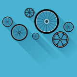 Bike wheels with flat shadows Stock Images