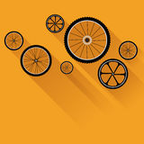 Bike wheels with flat shadows Stock Photo