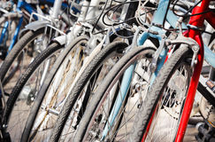 Bike wheels. Focus  to tire face Royalty Free Stock Photo
