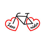 Bike with wheels shapes of the heart. Love rider. Royalty Free Stock Photos