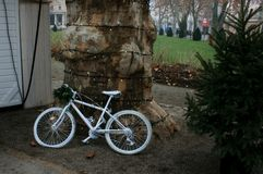 Bike in white. Cool bike white color in Zrijevac, Zagreb stock images