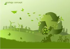 The bike ,windmill and solar panels on the grass  ,Environmentally friendly world. Vector illustration of ecology. Stock Photos