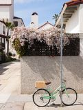 A bike with a wood basket chained to a pole. Royalty Free Stock Image