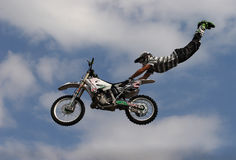 Bikeman. Motor show performance on motorcycle Stock Image