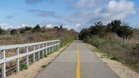 Bikepath till och med träna Fotografering för Bildbyråer