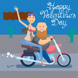 Biker's Valentine's dzień fotografia stock