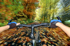 Biker. Fast moving cyclist autumn landscape Stock Images