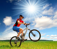 Biker. Portrait of bikers ride mountain biking Stock Photos