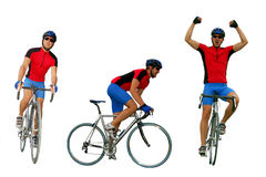 Biker. Cyclist riding a road bike on a white background Stock Images