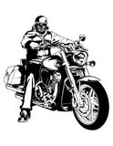 Biker. On a chopper motorcycle Royalty Free Stock Photography
