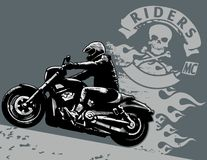 Biker. Editable  illustration with rider. White areas are cut away and black areas merged Stock Images