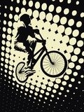 Biker. Sport concept with abstract background with dots Royalty Free Stock Photos