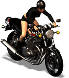 Biker. Woman is riding a bike Stock Photo