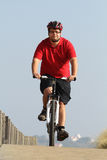 Biker in action. Fat man with is bike in action with a beautiful landscape Royalty Free Stock Photography