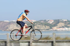 Biker in action. With a beautiful landscape - panning shot Royalty Free Stock Image