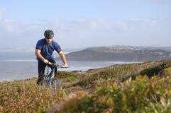 Biker in action Stock Photo