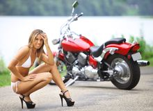 Biker babe Stock Photography