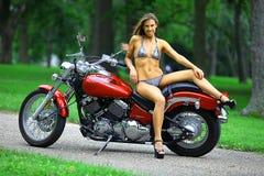 Biker babe Stock Image