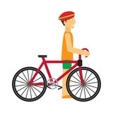 Biker with Bicycle Vector in Flat Design Royalty Free Stock Photography