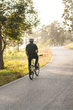 Biker biking in the morning Royalty Free Stock Images